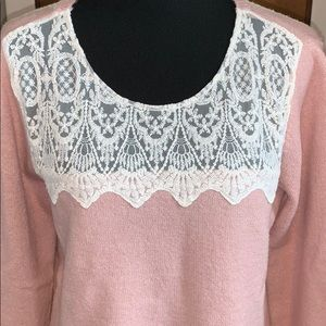 LOFT pink sweater with lace detail, size large